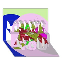 Flora Abstraction Thank You 3d Greeting Card (7x5)  by Valentinaart