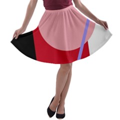 Decorative Geomeric Abstraction A Line Skater Skirt by Valentinaart