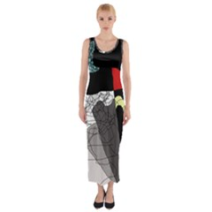 Decorative Abstraction Fitted Maxi Dress by Valentinaart