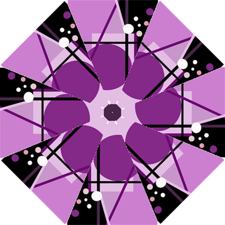 Purple geometrical abstraction Hook Handle Umbrellas (Large)