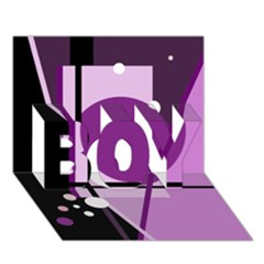 Purple Geometrical Abstraction Boy 3d Greeting Card (7x5) by Valentinaart