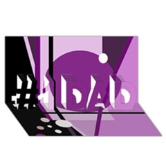 Purple Geometrical Abstraction #1 Dad 3d Greeting Card (8x4)  by Valentinaart