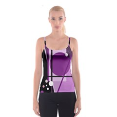 Purple Geometrical Abstraction Spaghetti Strap Top