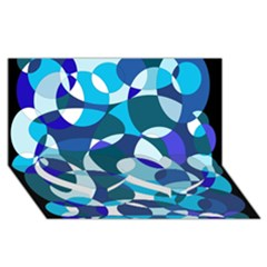 Blue Abstraction Twin Heart Bottom 3d Greeting Card (8x4)  by Valentinaart