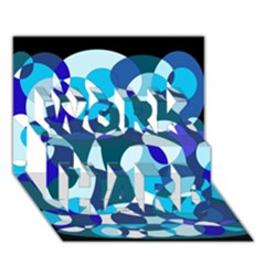Blue Abstraction Work Hard 3d Greeting Card (7x5)