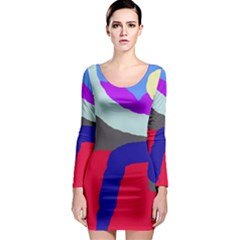 Crazy abstraction Long Sleeve Bodycon Dress