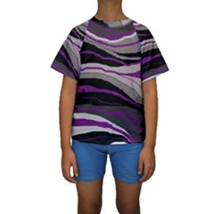 Purple And Gray Decorative Design Kid s Short Sleeve Swimwear by Valentinaart
