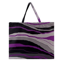 Purple And Gray Decorative Design Zipper Large Tote Bag by Valentinaart