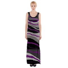 Purple And Gray Decorative Design Maxi Thigh Split Dress by Valentinaart