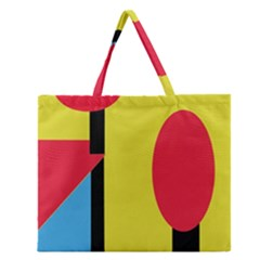 Abstract Landscape Zipper Large Tote Bag by Valentinaart