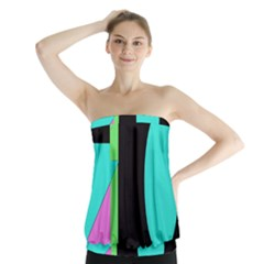 Abstract Landscape Strapless Top