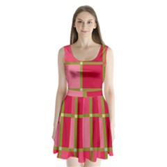 Red And Green Split Back Mini Dress  by Valentinaart