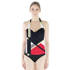 Red and black abstraction Halter Swimsuit by Valentinaart