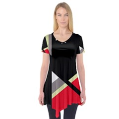 Red And Black Abstraction Short Sleeve Tunic