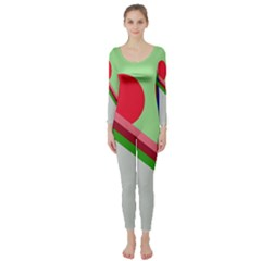 Decorative Abstraction Long Sleeve Catsuit by Valentinaart