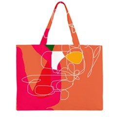 Orange abstraction Large Tote Bag by Valentinaart