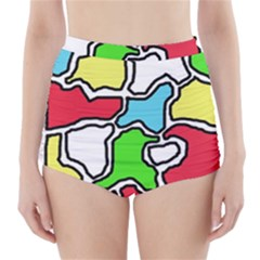 Colorful Abtraction High Waisted Bikini Bottoms