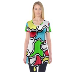 Colorful Abtraction Short Sleeve Tunic