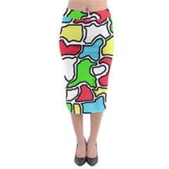 Colorful Abtraction Midi Pencil Skirt