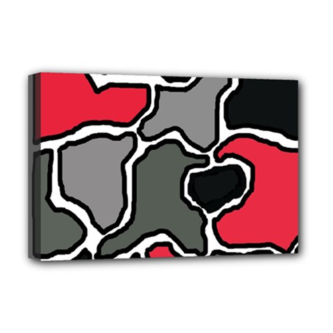 Black, Gray And Red Abstraction Deluxe Canvas 18  X 12   by Valentinaart