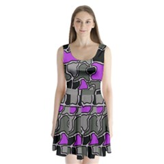 Purple And Gray Abstraction Split Back Mini Dress