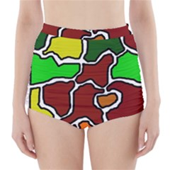 Africa Abstraction High Waisted Bikini Bottoms