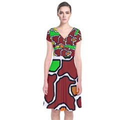 Africa Abstraction Short Sleeve Front Wrap Dress