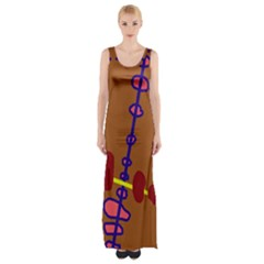 Brown Abstraction Maxi Thigh Split Dress by Valentinaart