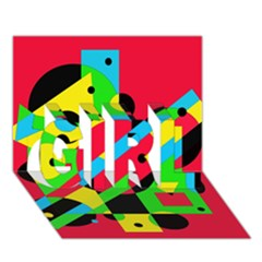 Colorful Geometrical Abstraction Girl 3d Greeting Card (7x5)  by Valentinaart