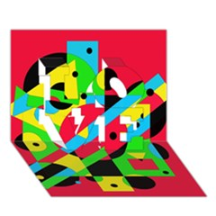 Colorful geometrical abstraction LOVE 3D Greeting Card (7x5)  by Valentinaart