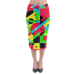 Colorful Geometrical Abstraction Midi Pencil Skirt
