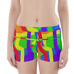 Rainbow Abstraction Boyleg Bikini Wrap Bottoms