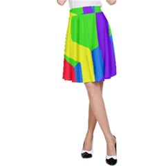 Rainbow Abstraction A Line Skirt by Valentinaart