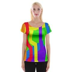 Rainbow Abstraction Women s Cap Sleeve Top