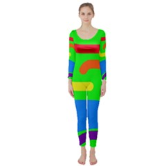 Rainbow Abstraction Long Sleeve Catsuit by Valentinaart