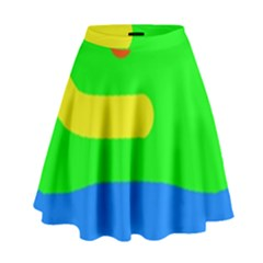 Rainbow Abstraction High Waist Skirt