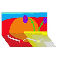 Colorful Abstraction Twin Heart Bottom 3d Greeting Card (8x4)  by Valentinaart