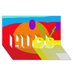 Colorful Abstraction Hugs 3d Greeting Card (8x4)