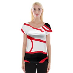 Red, Black And White Design Women s Cap Sleeve Top