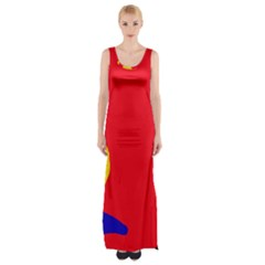 Colorful Abstraction Maxi Thigh Split Dress by Valentinaart