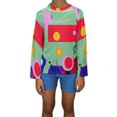 Optimistic Abstraction Kid s Long Sleeve Swimwear by Valentinaart