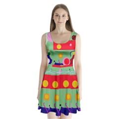 Optimistic Abstraction Split Back Mini Dress