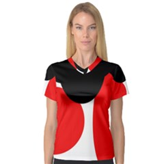 Red, Black And White Women s V Neck Sport Mesh Tee by Valentinaart