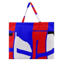 Blue, Red, White Design  Zipper Large Tote Bag by Valentinaart