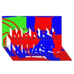 Abstract Hart Merry Xmas 3d Greeting Card (8x4)  by Valentinaart