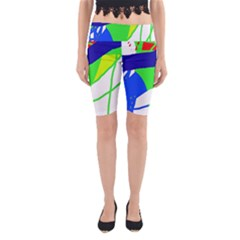 Colorful abstraction Yoga Cropped Leggings by Valentinaart