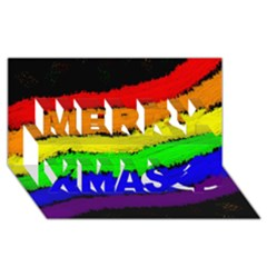 Rainbow Merry Xmas 3d Greeting Card (8x4)