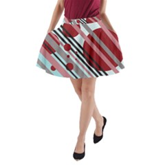 Colorful Lines And Circles A Line Pocket Skirt by Valentinaart