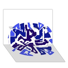 Deep Blue Abstraction I Love You 3d Greeting Card (7x5)  by Valentinaart
