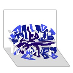 Deep Blue Abstraction You Are Invited 3d Greeting Card (7x5)  by Valentinaart
